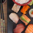 Foto Stock: Sushi, rice and soy sauce