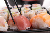 Assortment of sushi maki roll — Stock Photo