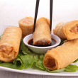 Spring roll and sauce — Stock Photo