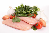 Isolated raw chicken breast and ingredients — Stock Photo
