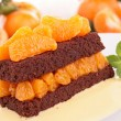 Stock Photo: Chocolate cake with clementine
