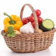 Isolated wicker basket with vegetables — Stock Photo #20565085