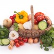 Isolated wicker basket with vegetables — Stock Photo #20565087