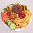 Beefsteak with vegetables and fries — Stock Photo #20566709