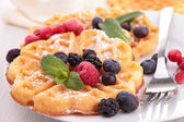 Waffles with berries fruits — Stock Photo