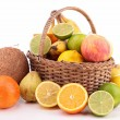 Wicker basket with fruits — Photo