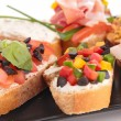 Assortment of bruschettas — Stock Photo