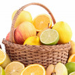 Wicker basket with fruits — Stock Photo #22127545