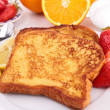 French sugar toast with fruits — Stock Photo