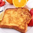 French sugar toast with fruits - Stock Photo