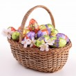 Wicker basket with easter egg — Stock Photo #22284319