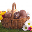 Easter egg in wicker basket with flower — Stock Photo