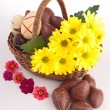 Easter basket with chocolates — Stock Photo
