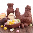 Assortment of easter chocolate eggs — Stock Photo