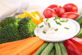 Vegetables and dip — Stock Photo