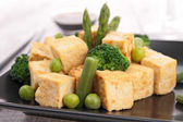 Grilled tofu with vegetables and rice — Stock Photo