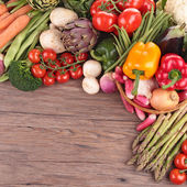 healthy organic vegetables on a wood background — ストック写真