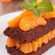 Dessert, brownie and orange — Stock Photo