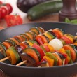 Vegetarian skewer kebab - Stock Photo