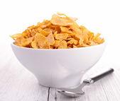 Bowl of corn flakes — Stock Photo