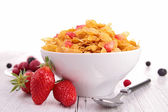 Bowl of cereals and strawberries — Stock Photo