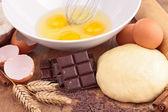 Egg, flour, dough — Stock Photo