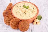 Falafel and hummus — Stock Photo