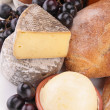 Close up on cheese, grape and bread — Stock Photo