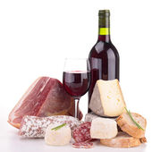 Meat,cheese and wine isolated — Stock Photo