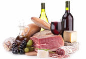 Composition with wine,sausage and bread — Stock Photo