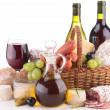 Composition with wine,cheese and sausage — Stock Photo #24406057