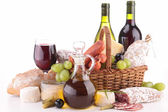 Composition with wine,cheese and sausage — Stock Photo