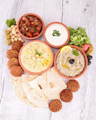 Falafel with dips and bread — Stock Photo