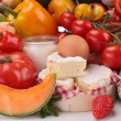 Composition with fruits,vegetables,cheese and sausages — Stock Photo