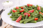 French bean salad with tomato — Stok fotoğraf