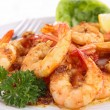 Close up on cooked shrimp and parsley — Foto Stock
