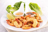 Fried shrimp with curry — Stock Photo