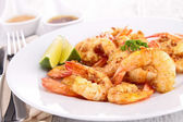 Fried shrimp with curry — Foto Stock