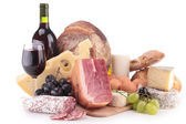 Wine, meat and cheese — Stock Photo