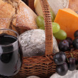 Wine,cheese,bread and grape — Stock Photo