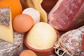 Close up on dairy product and meat — Stock Photo