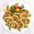 Stock Photo: Pesto sauce pinwheel