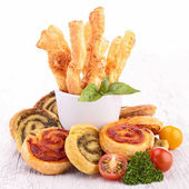 Assortment of puff pastries appetizer — Stock Photo