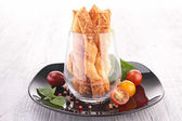 Assortment of puff pastry appetizer — Stock Photo