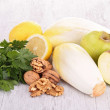 Endive, parsley,walnut and apple — Stock Photo