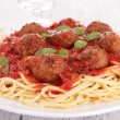 Spaghetti with meatballs and parmesan — Stock Photo