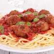 Stock Photo: Spaghetti with meatballs and parmesan