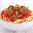 Spaghetti, meatballs and tomato sauce — Stock Photo