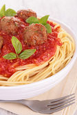 Spaghetti with meatball and tomato sauce — Stock Photo