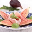 Appetizer, fig salad with proscuitto ham — Stock Photo